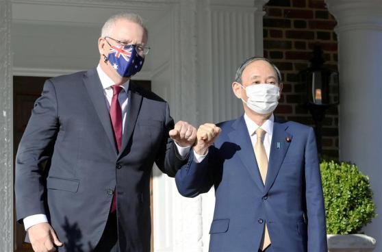 日豪首脳が会談 菅首相、米英豪の安保枠組み歓迎